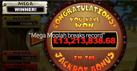 Rekordvinst på Mega Moolah