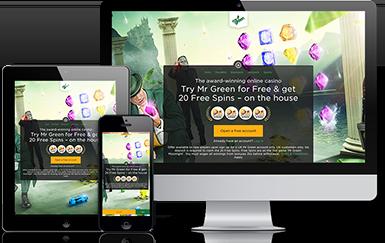 Screenshots of Mr Green Homepage